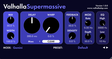 Valhalla DSP has announced the release of free plugin ValhallaSupermassive